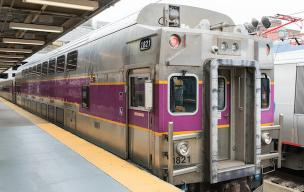 Commuter rail train at South Station