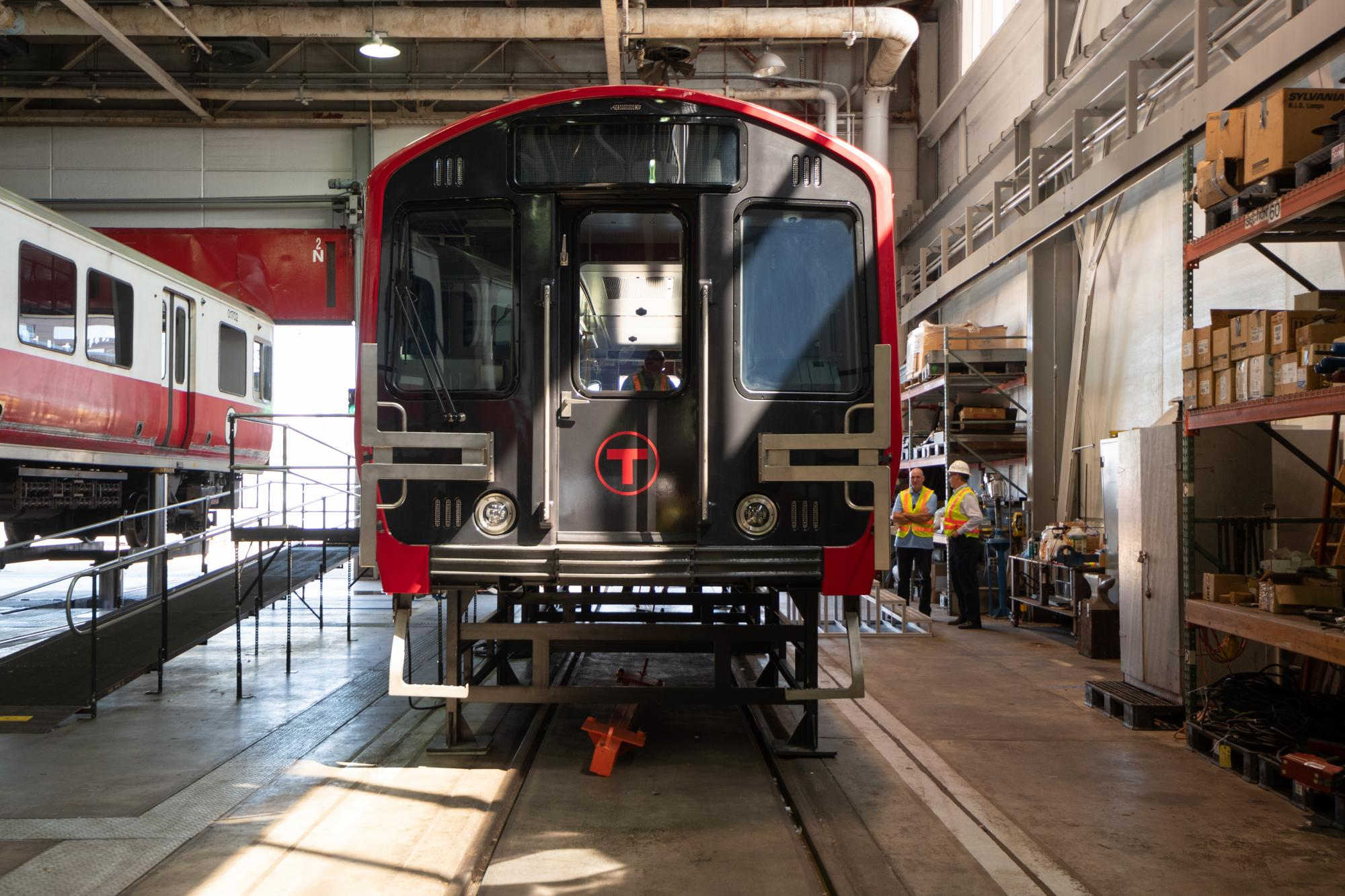 Front view of Red Line mock-up car (August 2018)