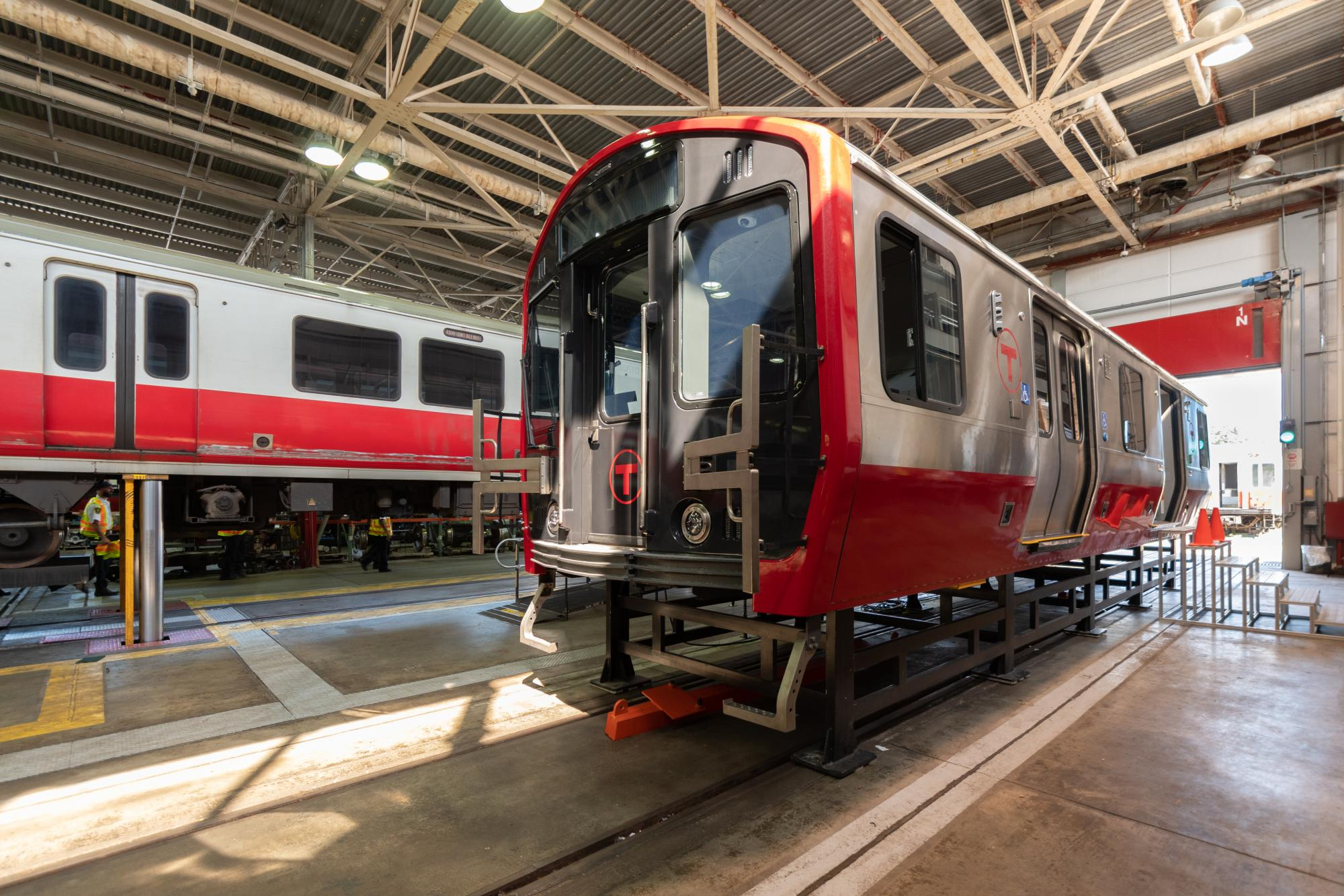 Side view of Red Line mock-up car (August 2018)