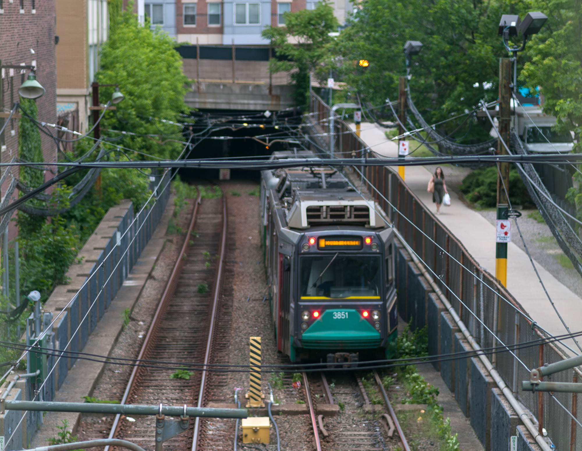 A Green Line train passes through the Fenway Portal.