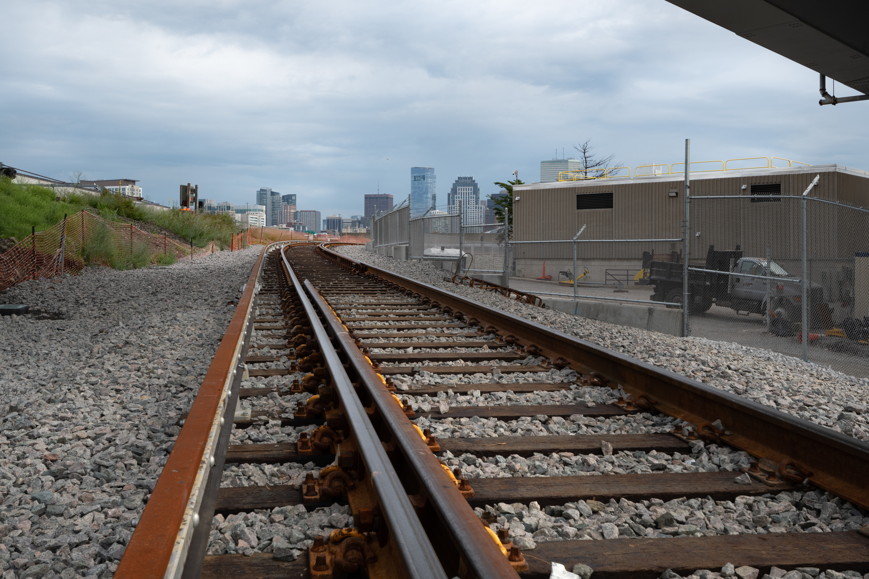 Work on the access track from South Boston's Cabot Yard to the test track is progressing. (July 2019)