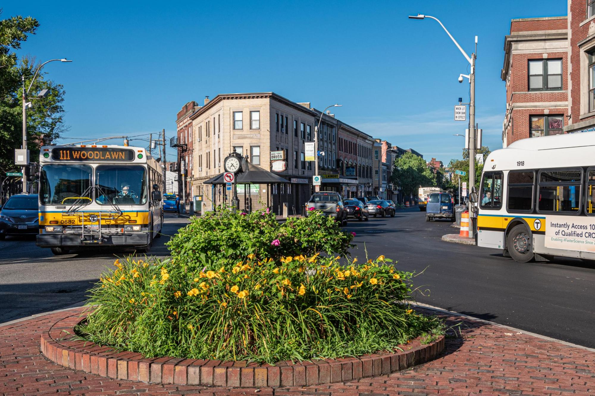 Route 111 bus at a roundabout in Chelsea, during summertime