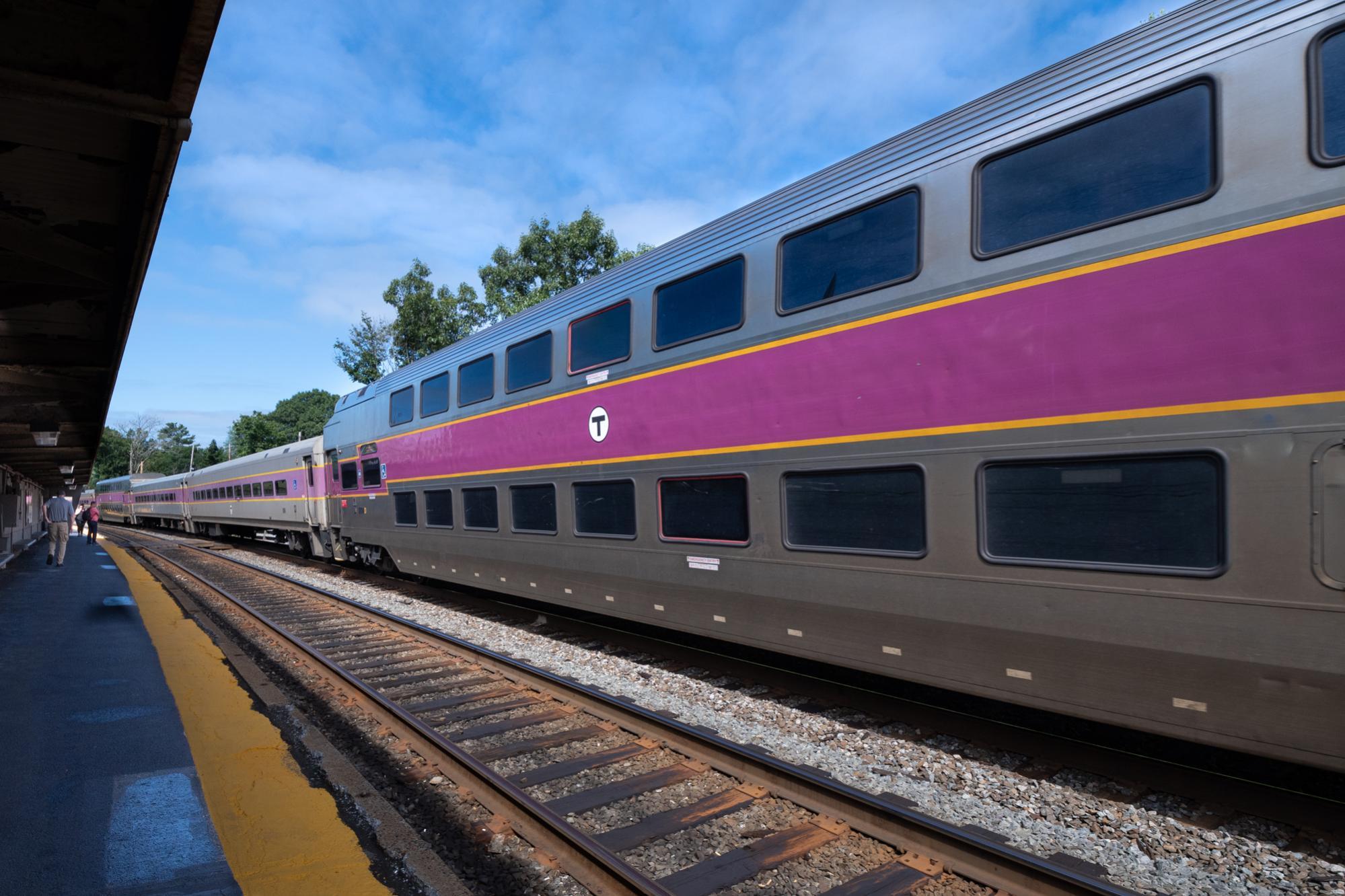 Commuter Rail train passes through Auburndale Station