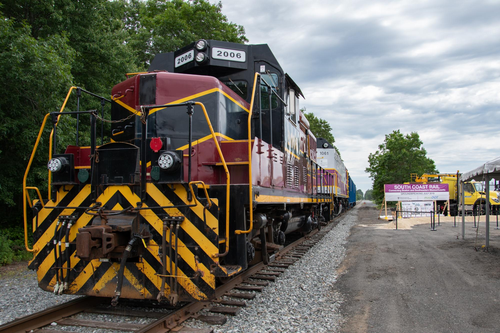 Locomotive on the tracks at South Coast Rail groundbreaking in Freetown
