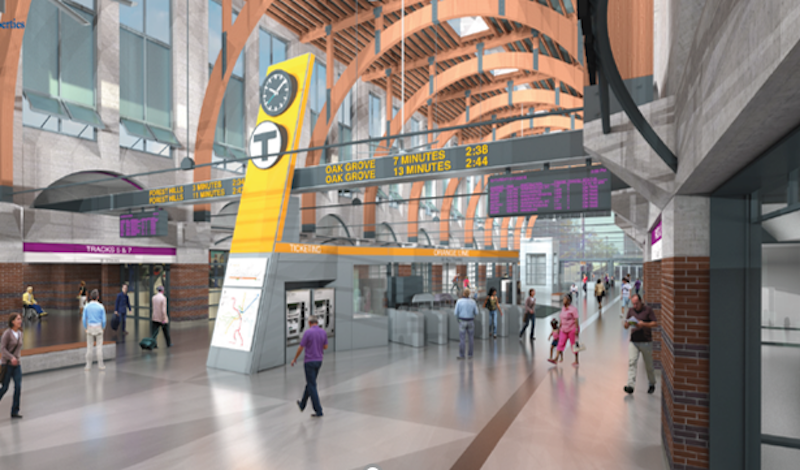 Rendering of Back Bay Station lobby