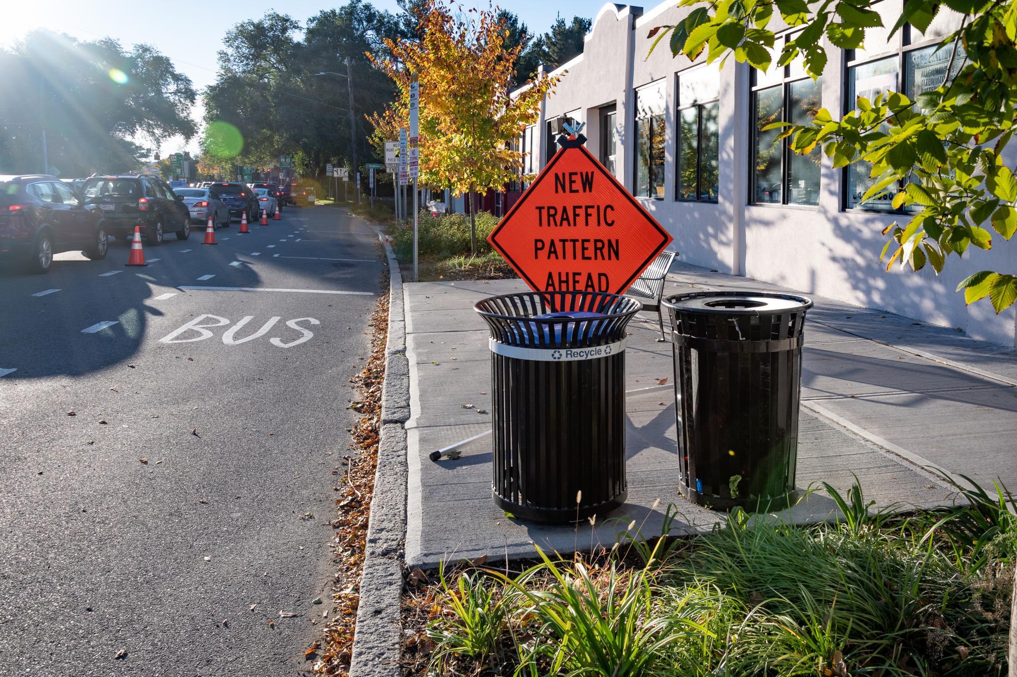 """New Traffic Pattern Ahead"" street sign during the Arlington pilot."