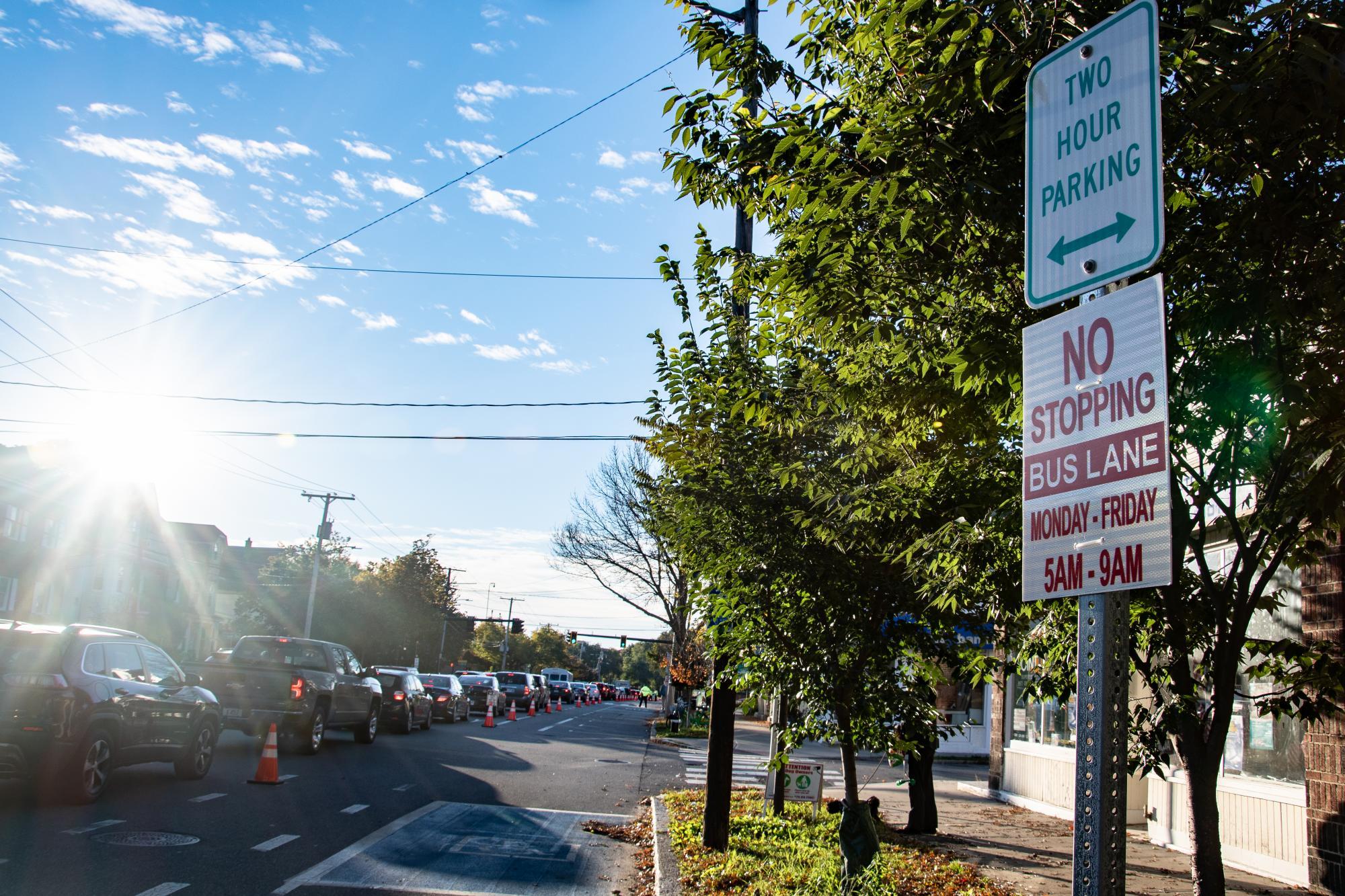 """No Stopping | Bus Lane | Monday - Friday | 5 AM - 9 AM"" sign during the Arlington pilot."