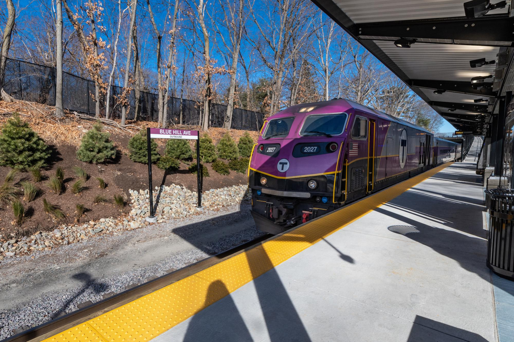 A Commuter Rail train pulls into the outbound platform at Blue Hill Avenue Station. (January 2019)