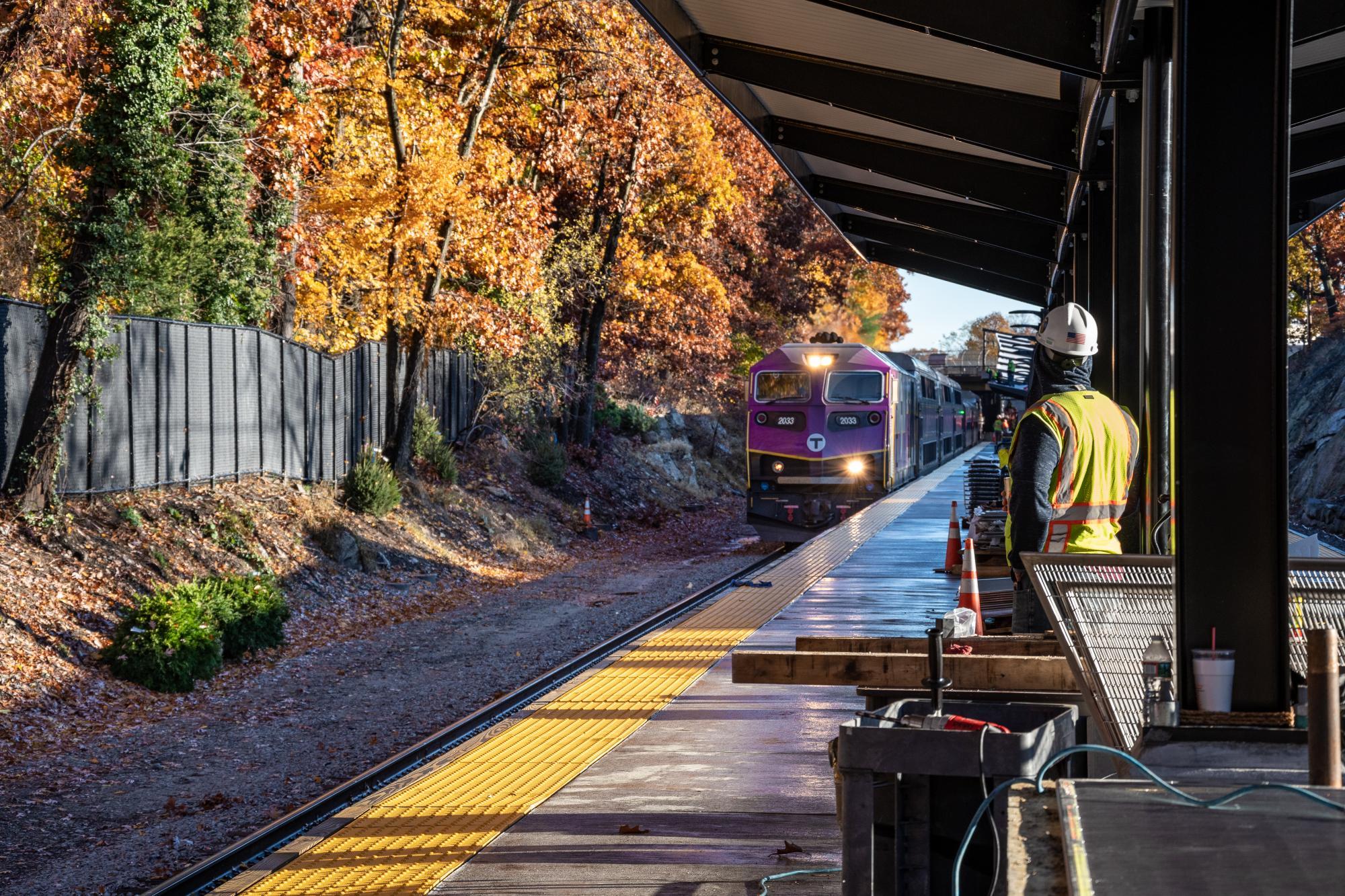 Train approaching platform