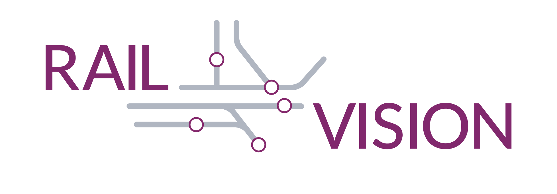 "Logo with ""Rail Vision"" in purple and a grid layout between the two words"
