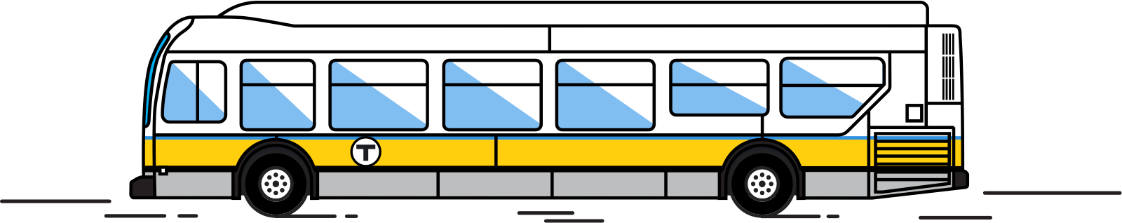 Illustration of a bus departing