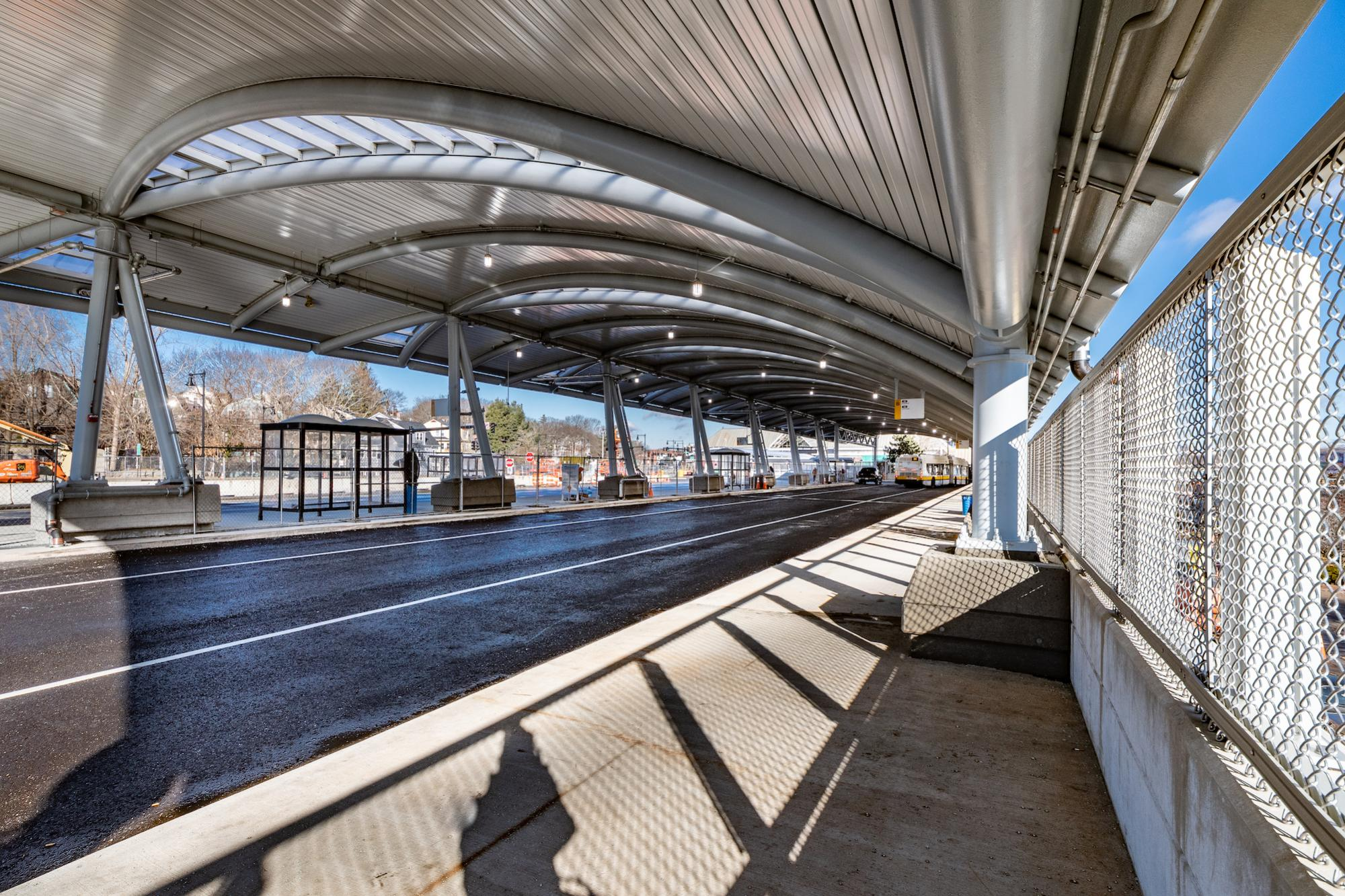 Under the new upper busway canopy at Forest Hills (January 4, 2019)