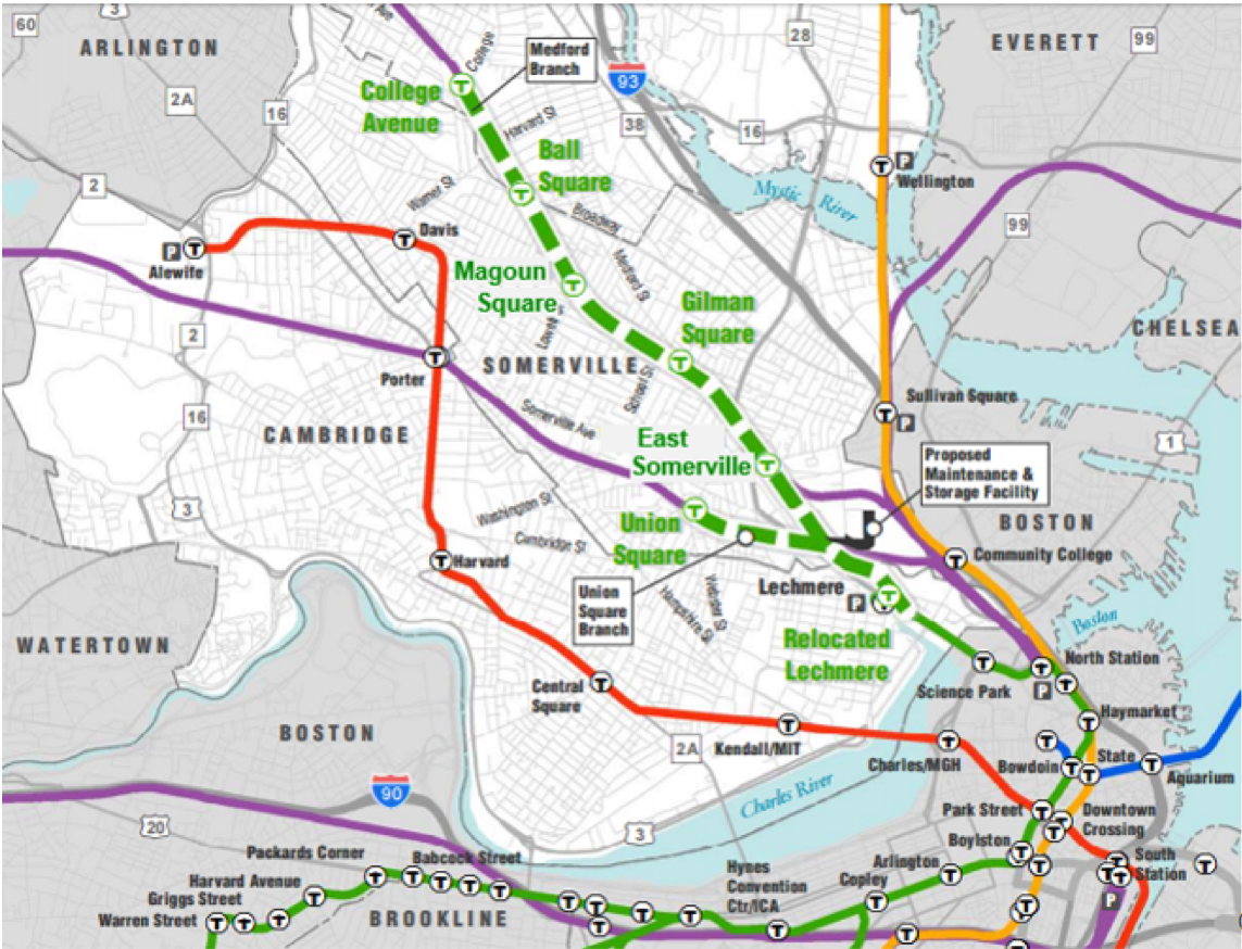 Map of the Green Line extension, stretching into Medford and Somerville.