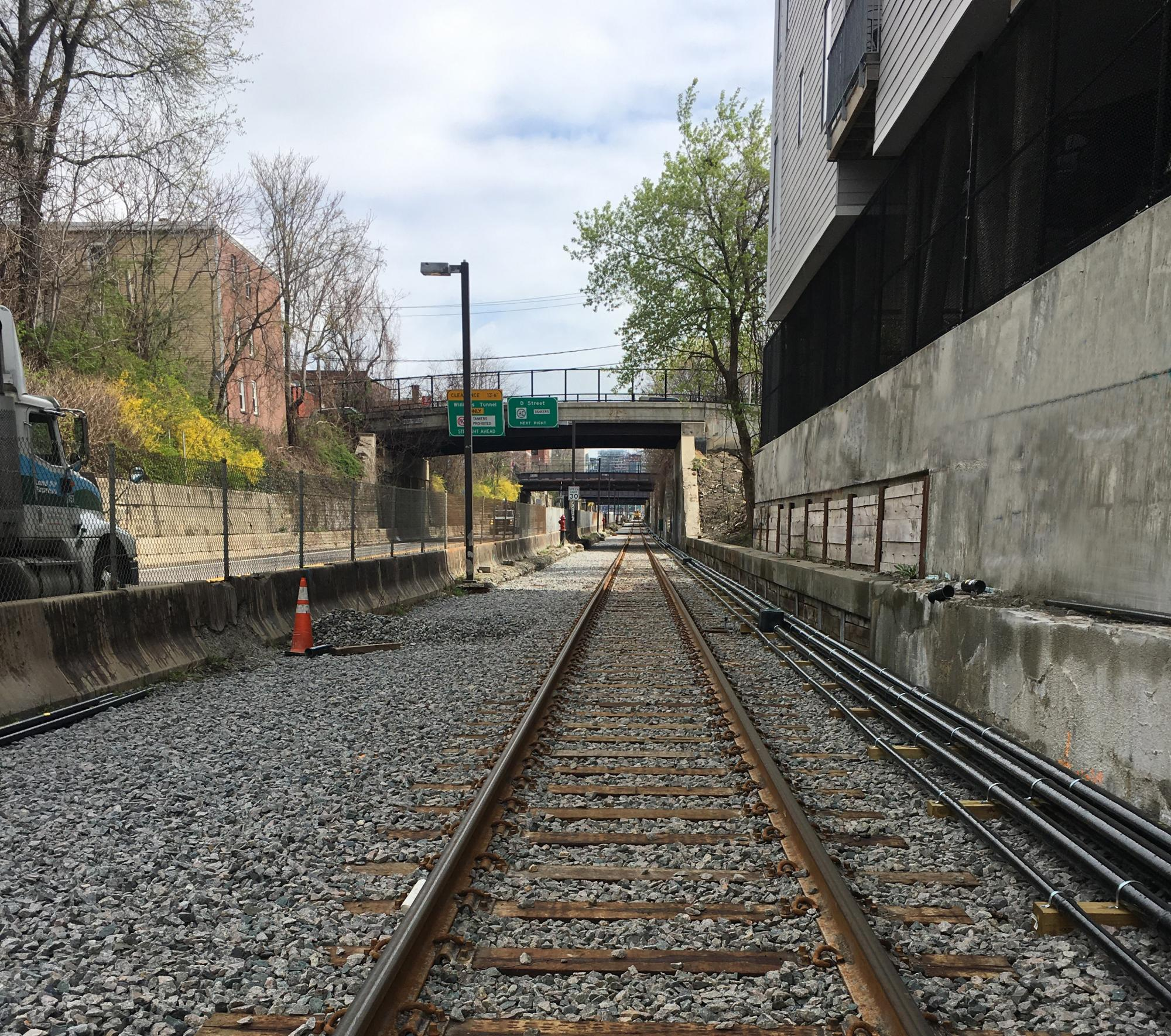 View of Test Track looking north near West 5th Street in South Boston (April 2019)