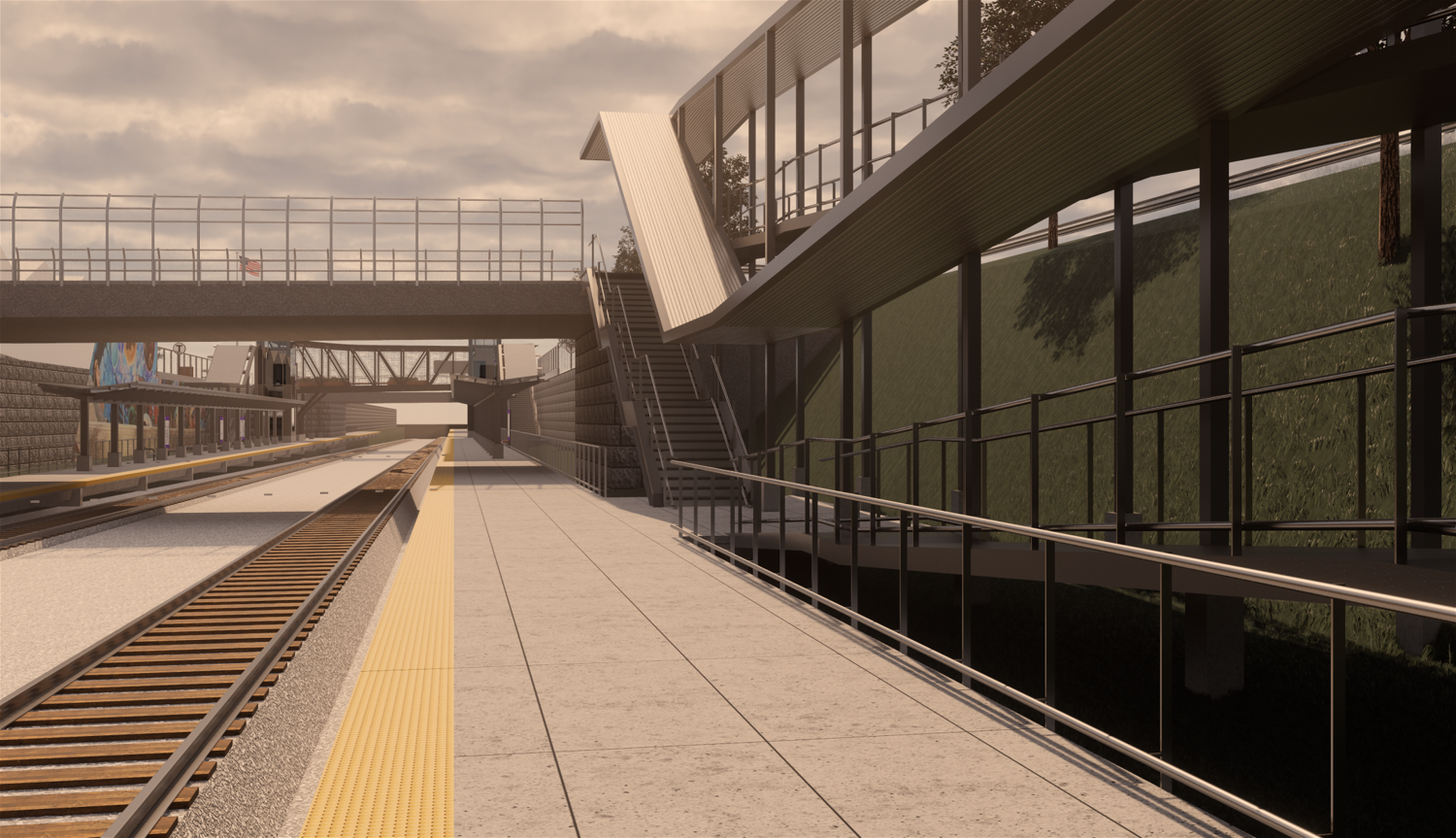 Rendering of the station entrance from Washington Street