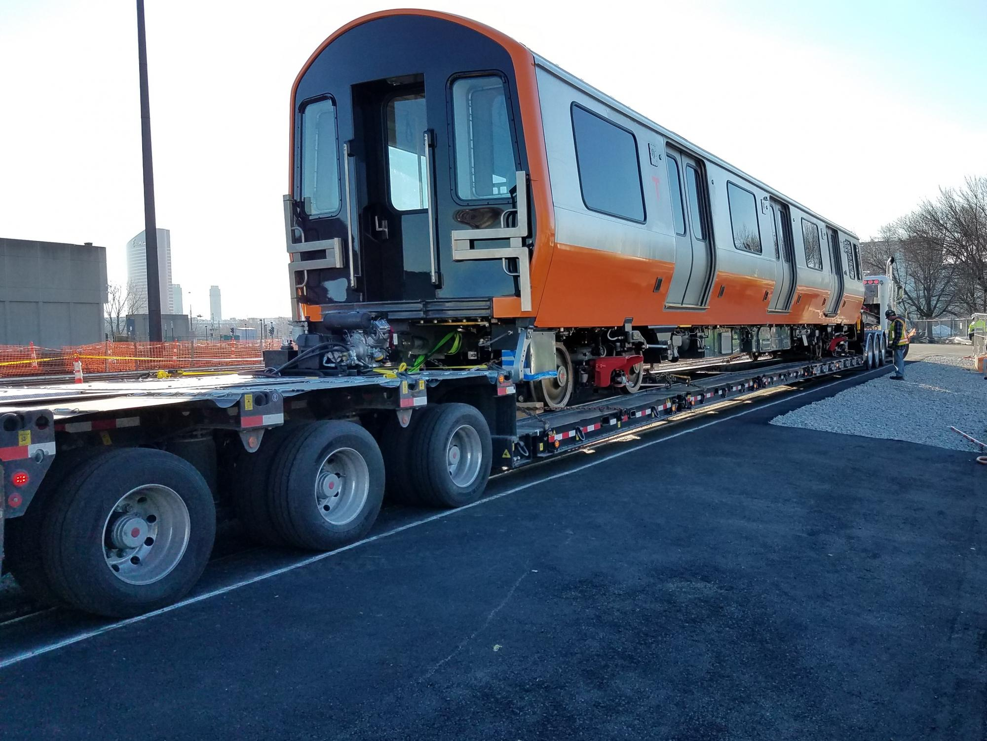 Orange Line Production Car Delivery from Springfield, MA to the Wellington Car House (January 4, 2019)