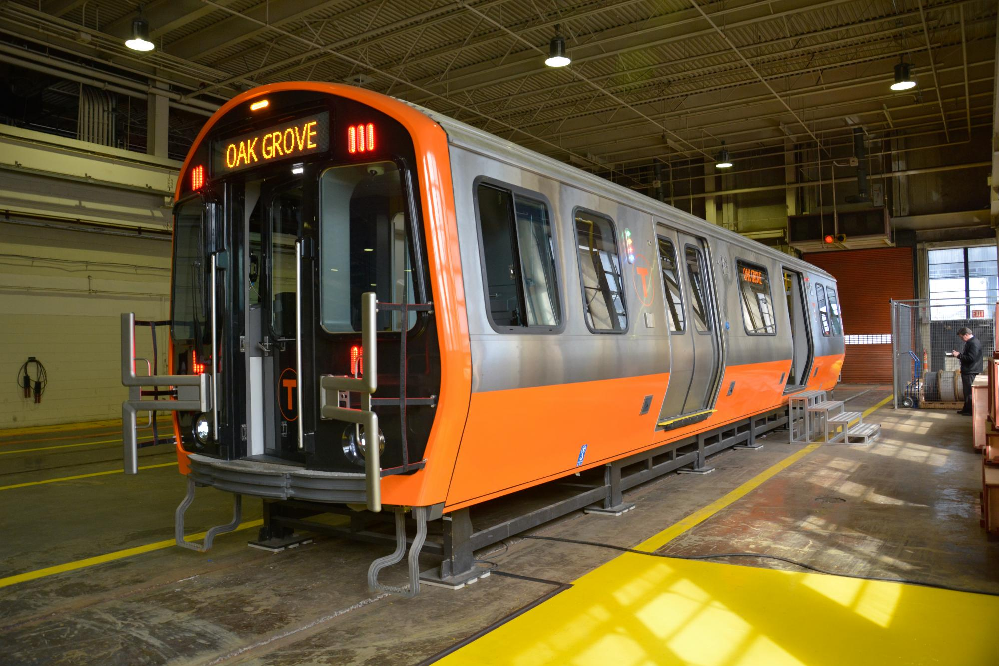Side view of Orange Line mock-up car