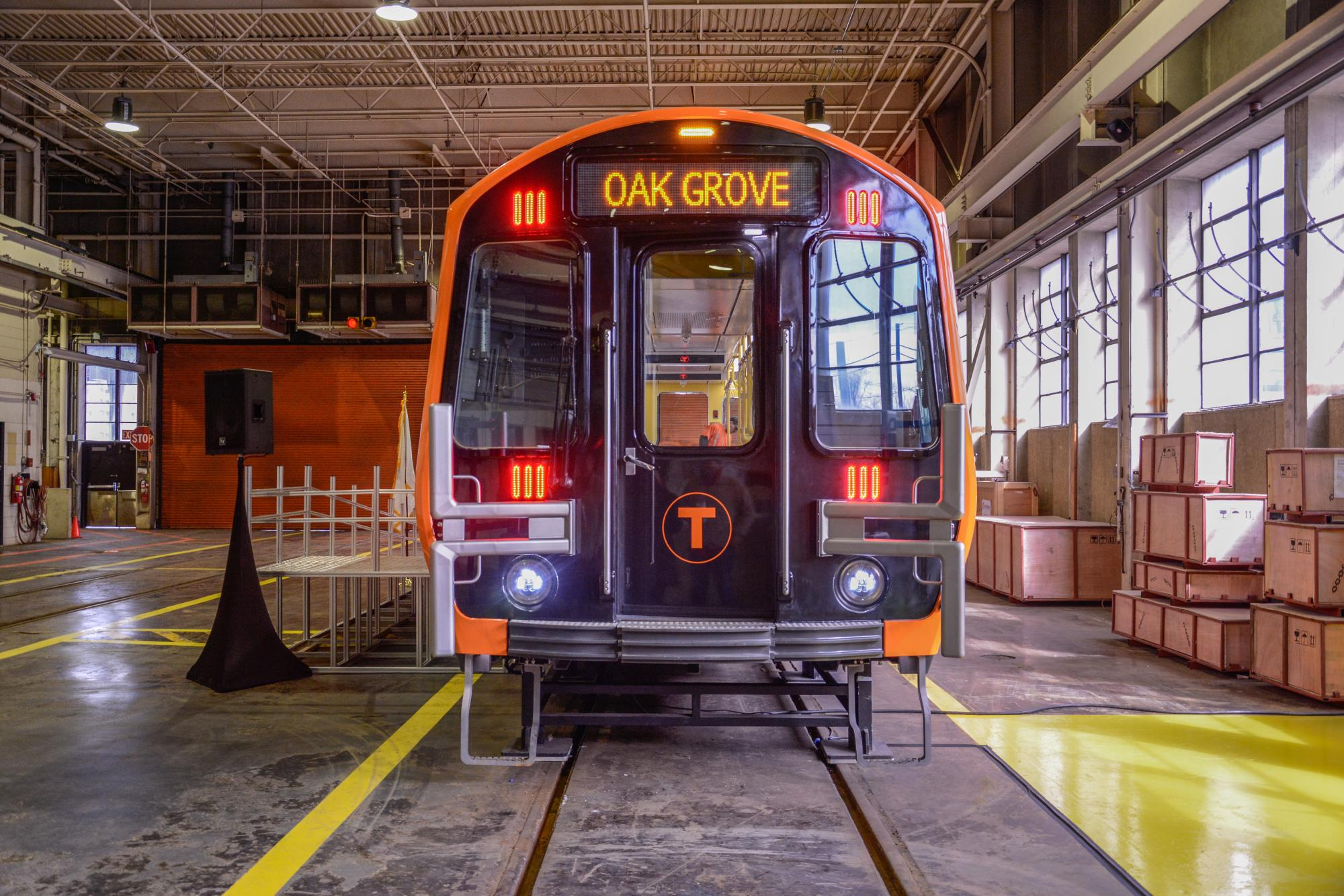 Front view of Orange Line mock-up car