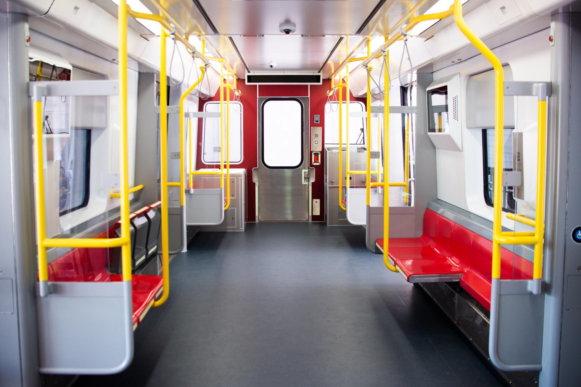 Interior of Red Line mock-up car (August 2018)