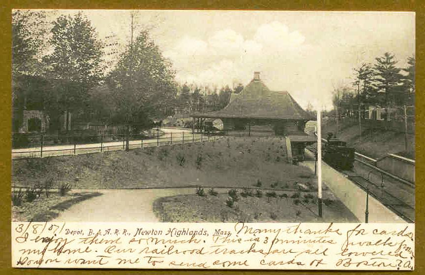 An old postcard featuring Newton Highlands station