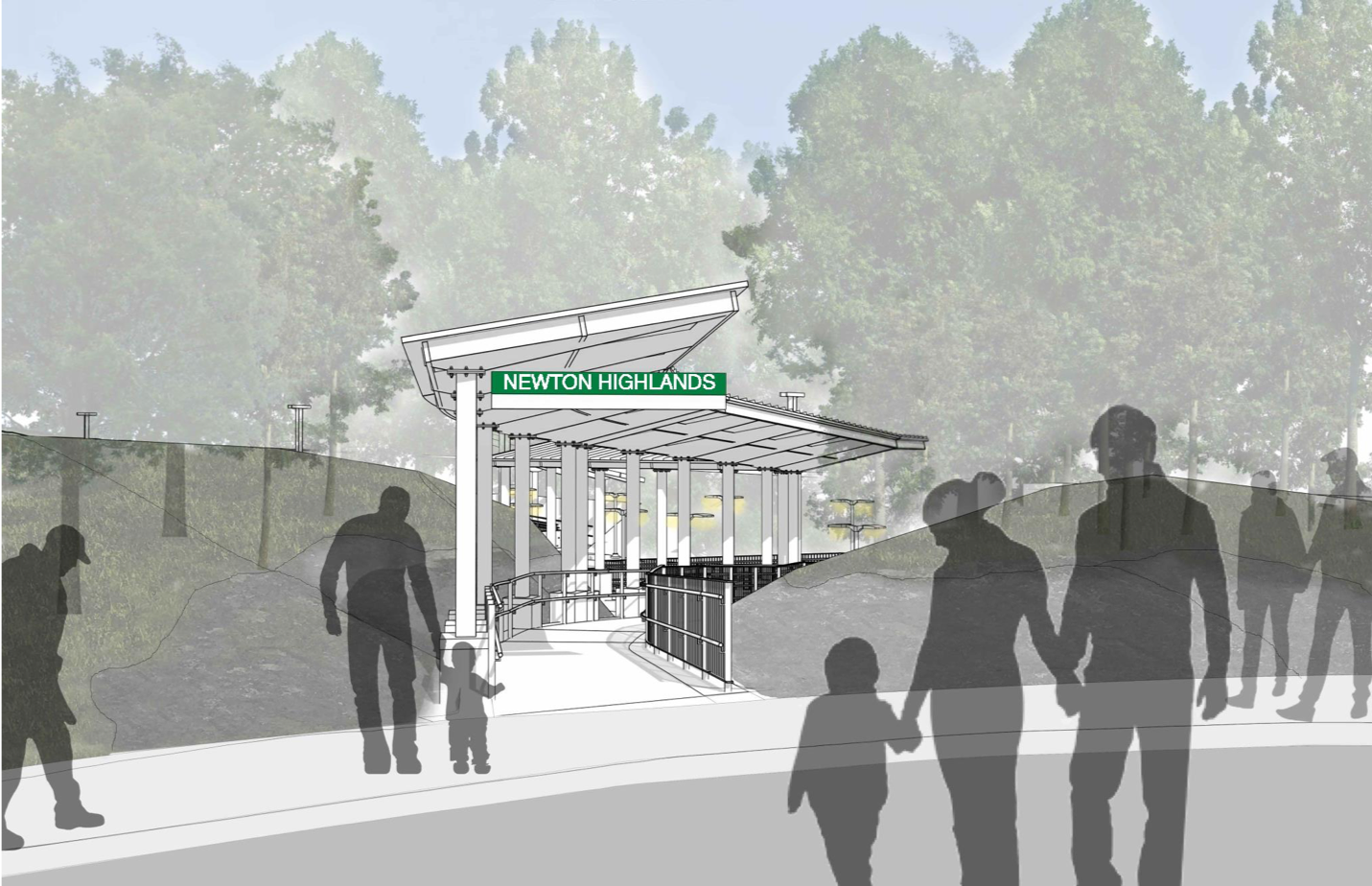 Rendering of Station Avenue entrance with a new ramp with canopy