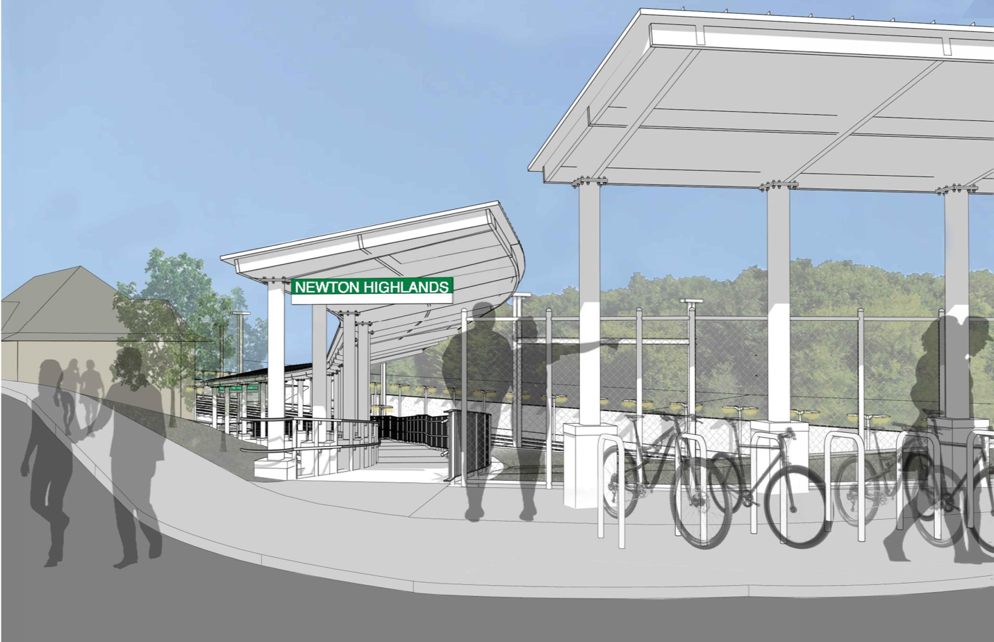 Rendering of Walnust Street entrance with a new ramp with canopy, as well as a bicycle rack with canopy