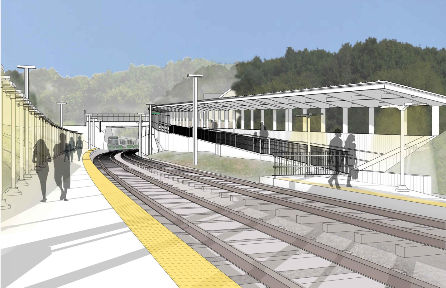 Rendering of station platform, looking towards Hyde Street and the new ramp with canopy