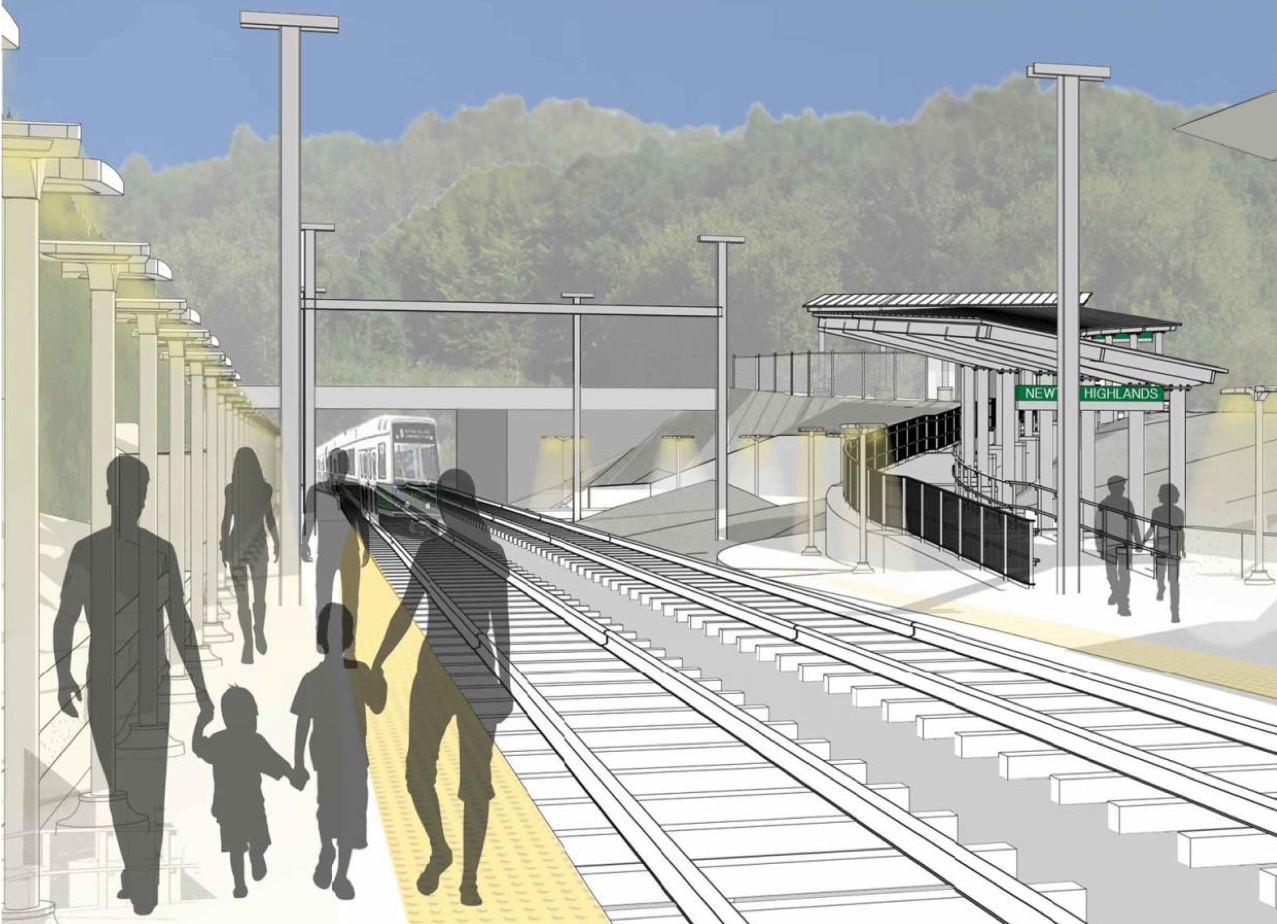 Rendering of station platform, looking towards Walnut Street and the new ramp with canopy
