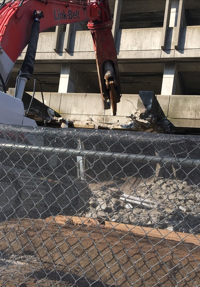 Demolition of bus canopy at Quincy Center (April 12, 2018)