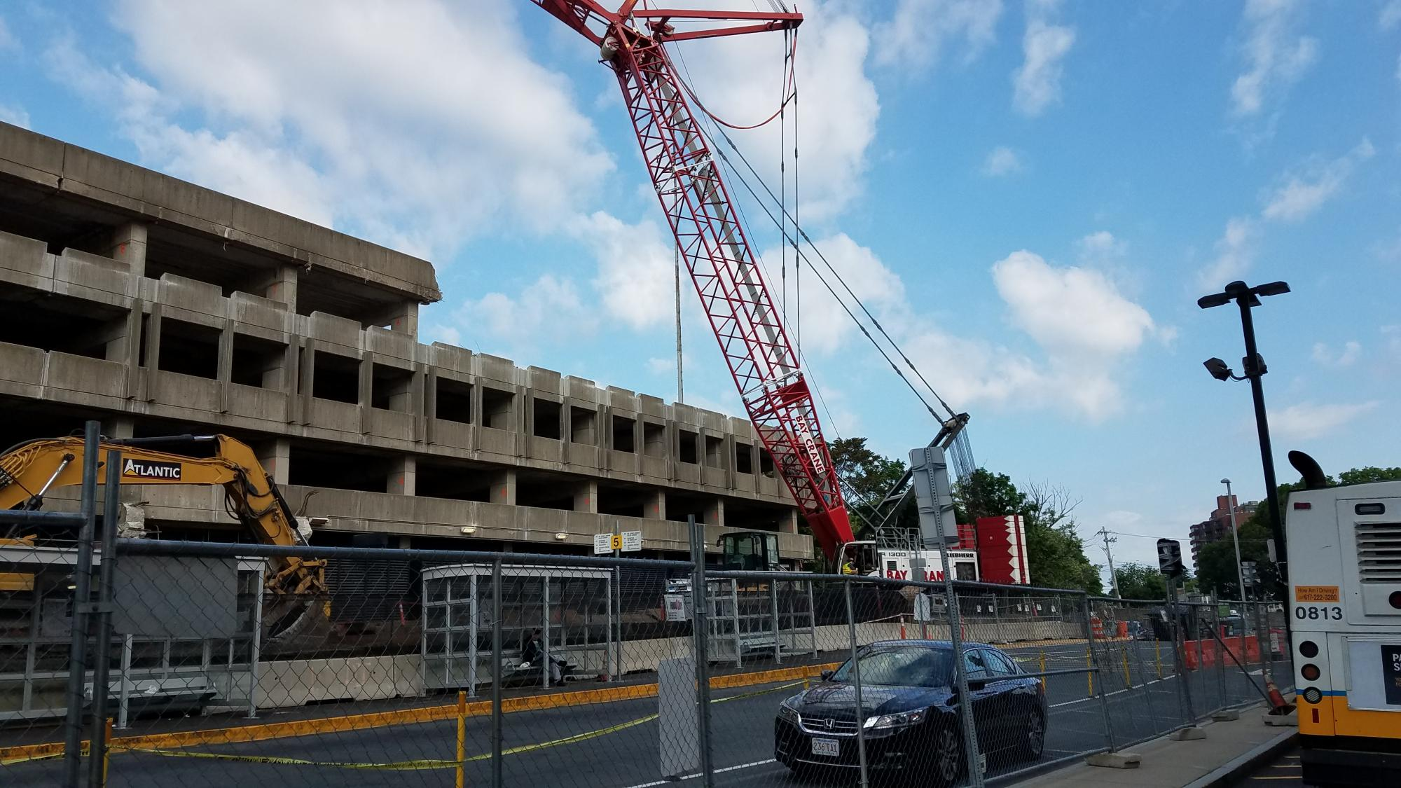 Demolition of top level at Quincy Center Garage (May 30, 2018)