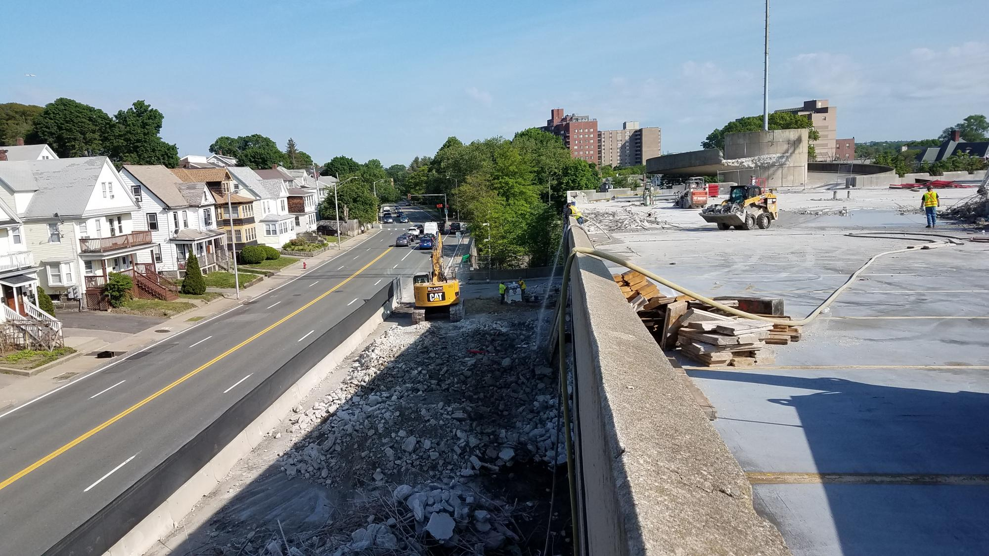 Removing debris from Quincy Center Garage (May 30, 2018)