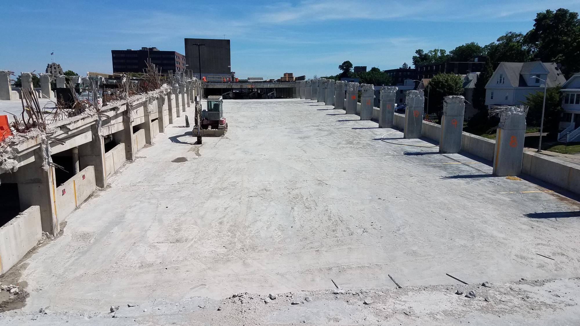 Demolition of Quincy Center garage (July 7, 2018)