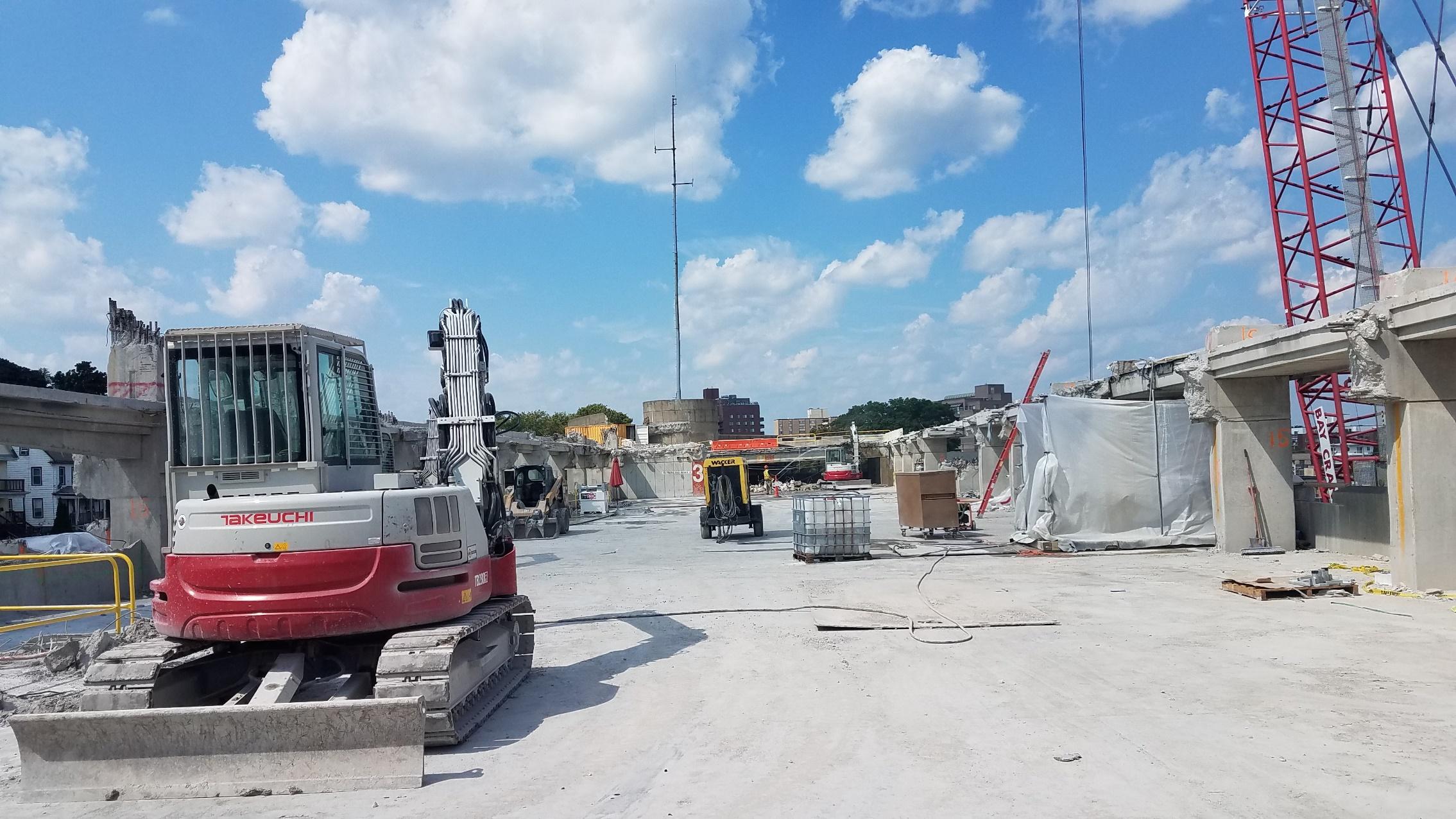 Demolition of Quincy Center garage (August 29, 2018)