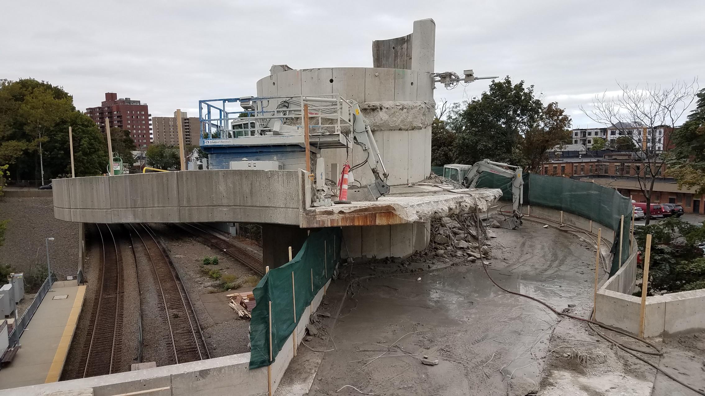 Demolition of helix ramp at Quincy Center garage (September 24, 2018)
