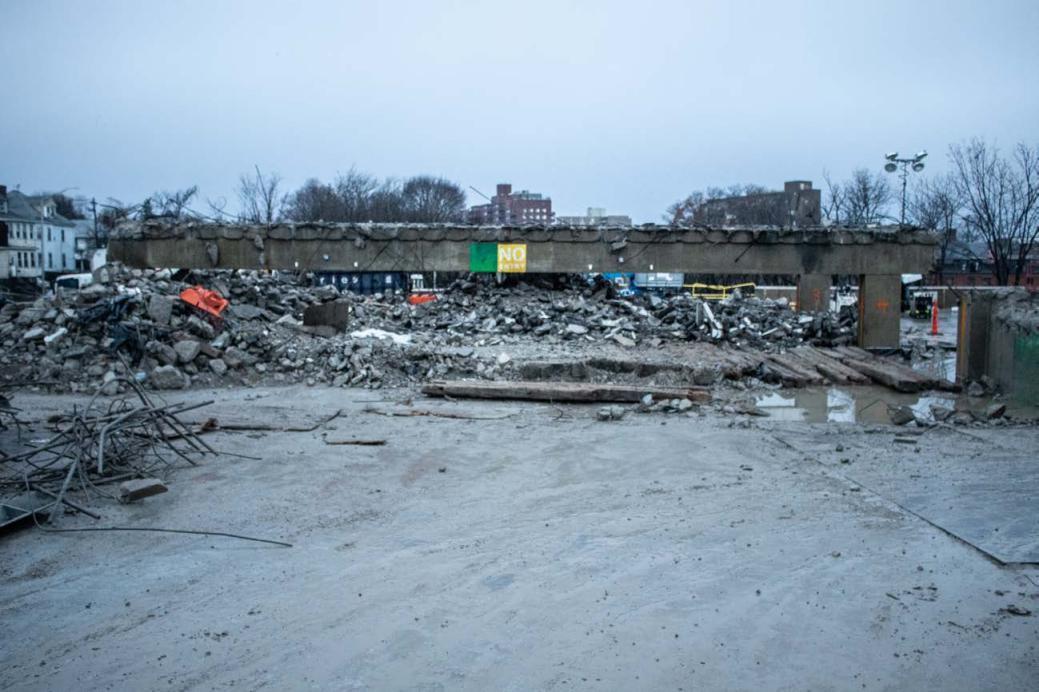 Quincy Center garage demolition progress (November 27, 2018)