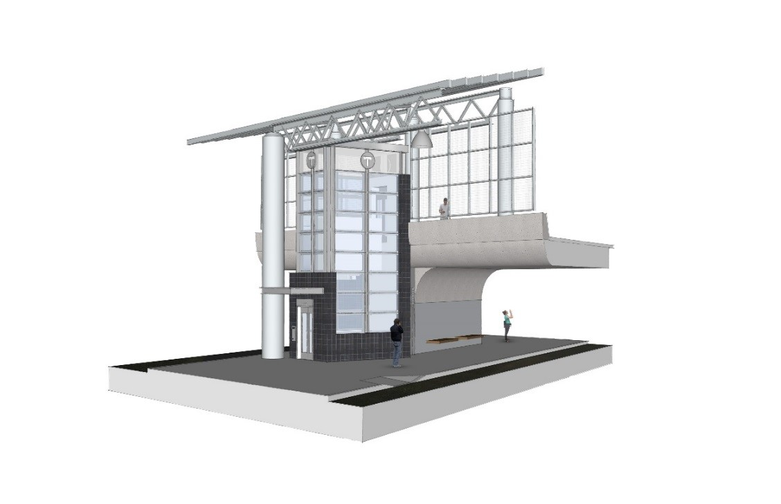 Rendering of new elevators to Ruggles lower busway