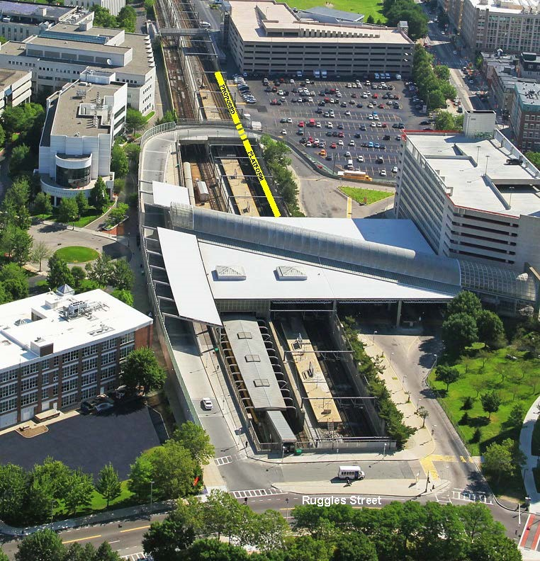 New Ruggles Station platform location from an aerial view