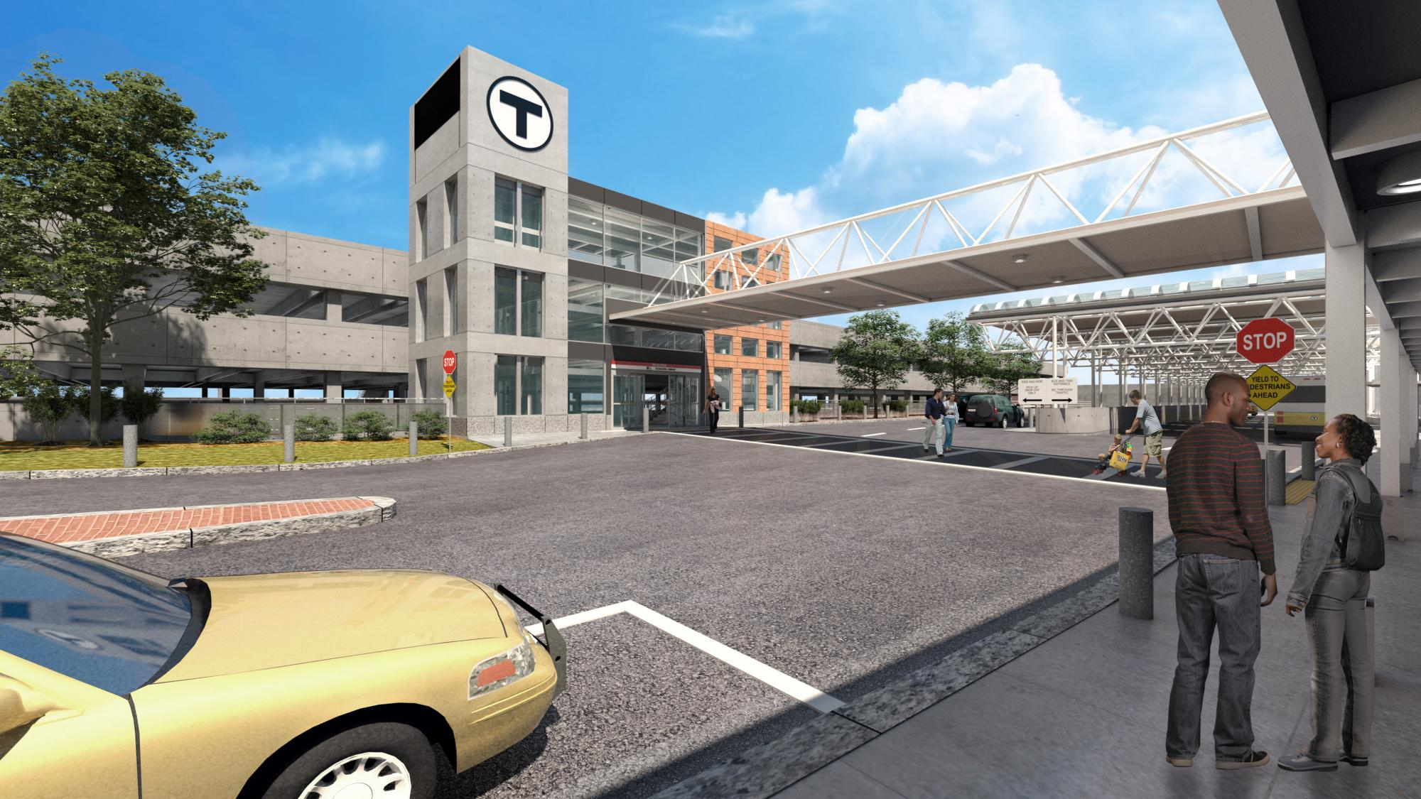 Rendering of a new parking garage at Braintree