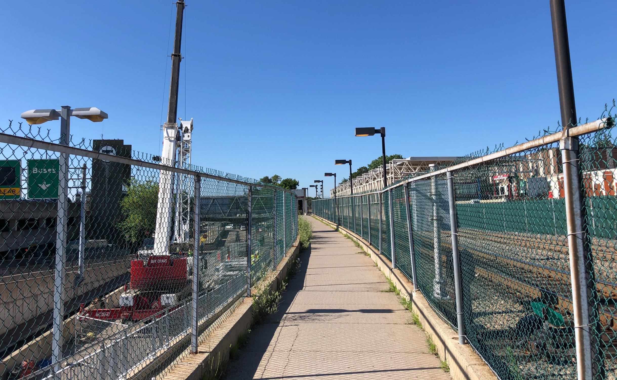 Temporary ramp to the Commuter Rail platform.