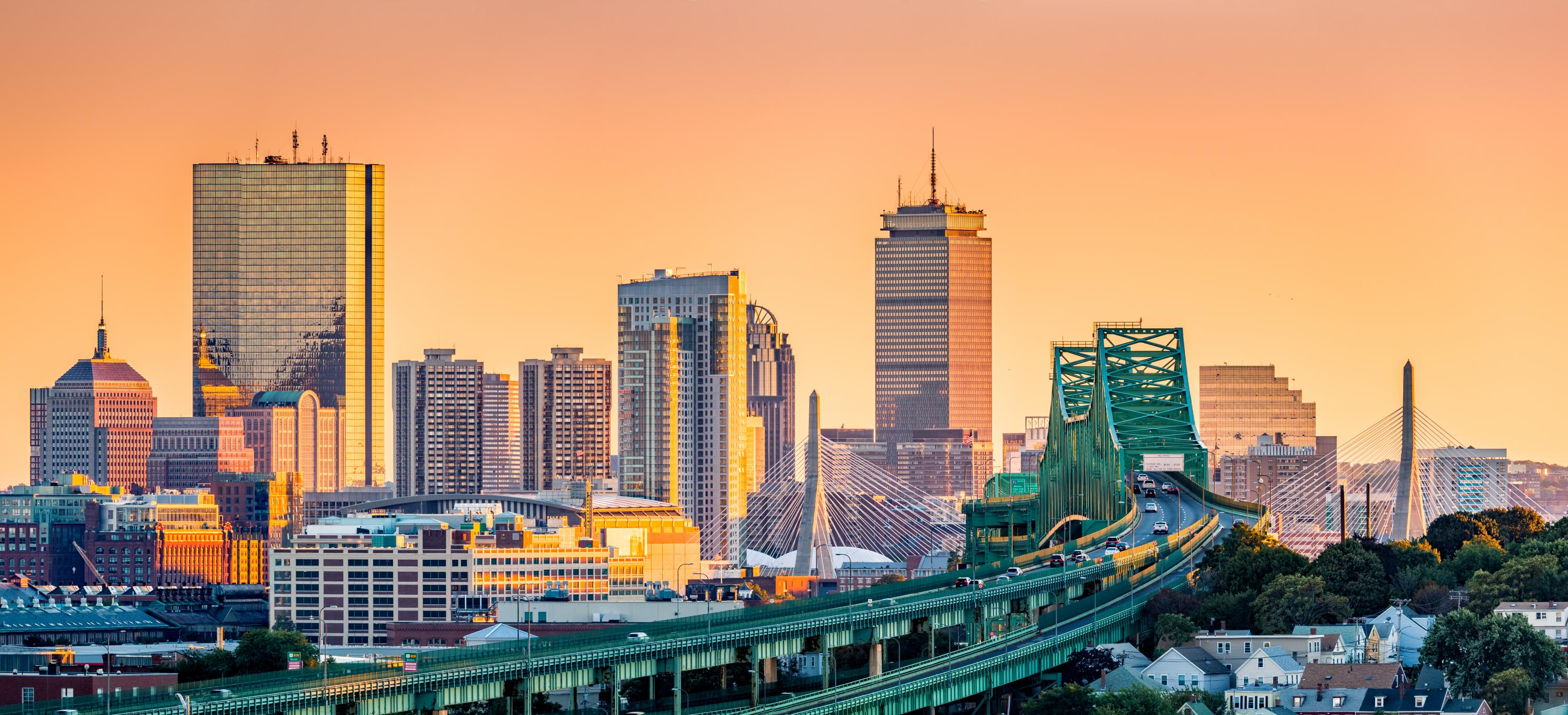 Tobin Bridge and Boston skyline at sunset