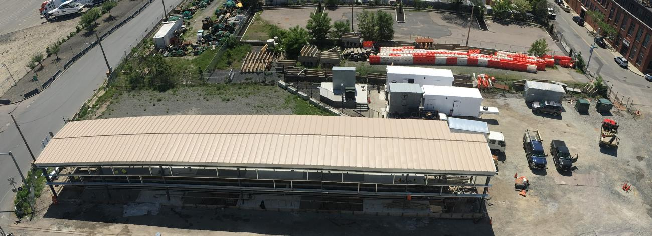 View from above of the vehicle testing facility and Cabot Yard 61 (June 2019)