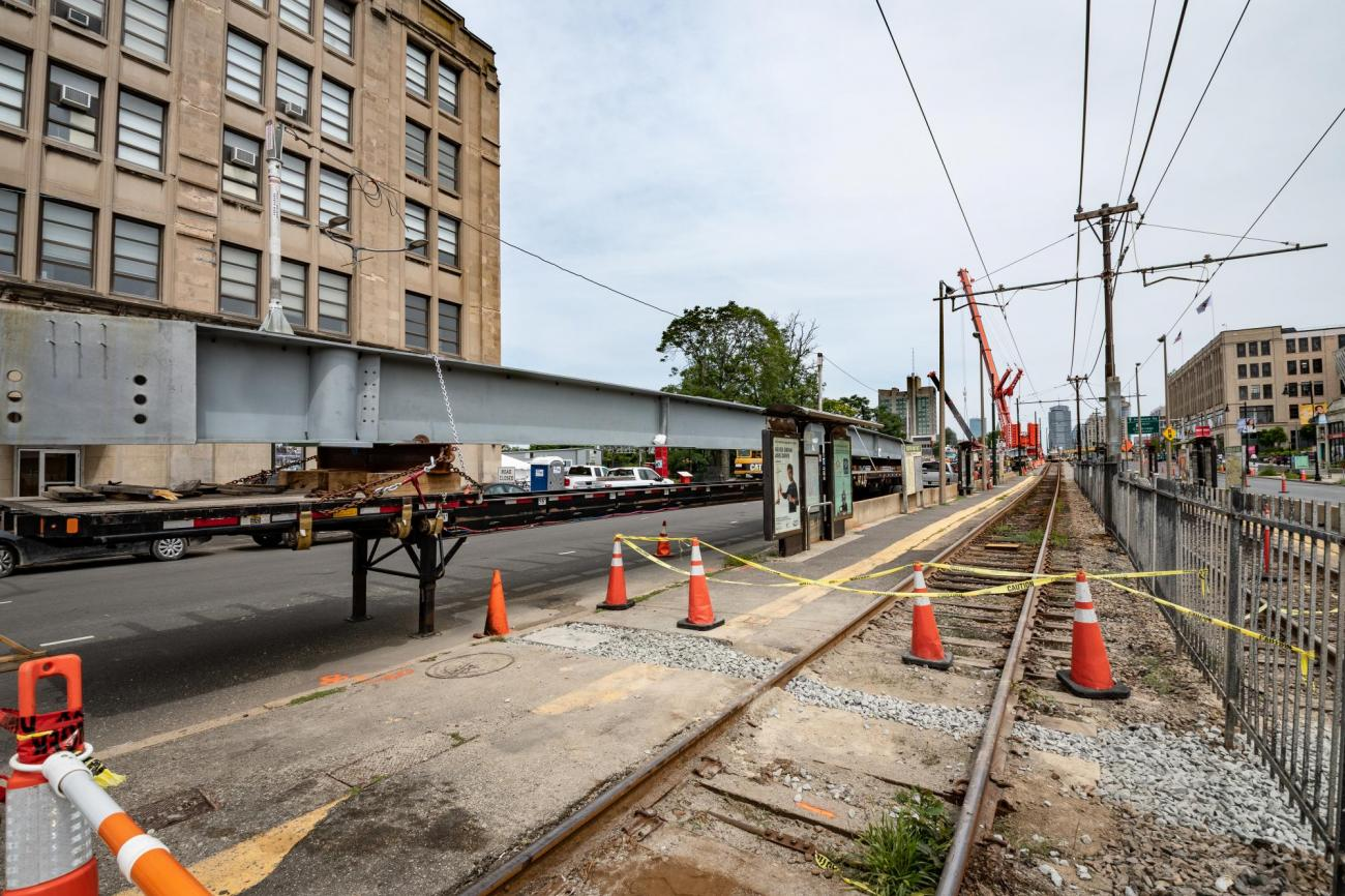 Construction at the BU West stop during summer 2018, as part of the Commonwealth Avenue Bridge Replacement and related to Green Line B Branch Station Consolidation.