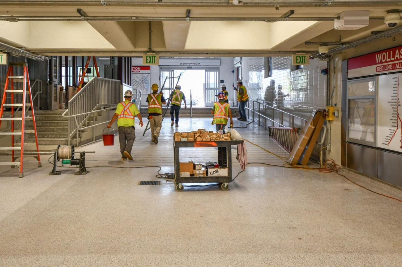 The lobby at Wollaston Station in the final stages of renovation. (August 7, 2019)