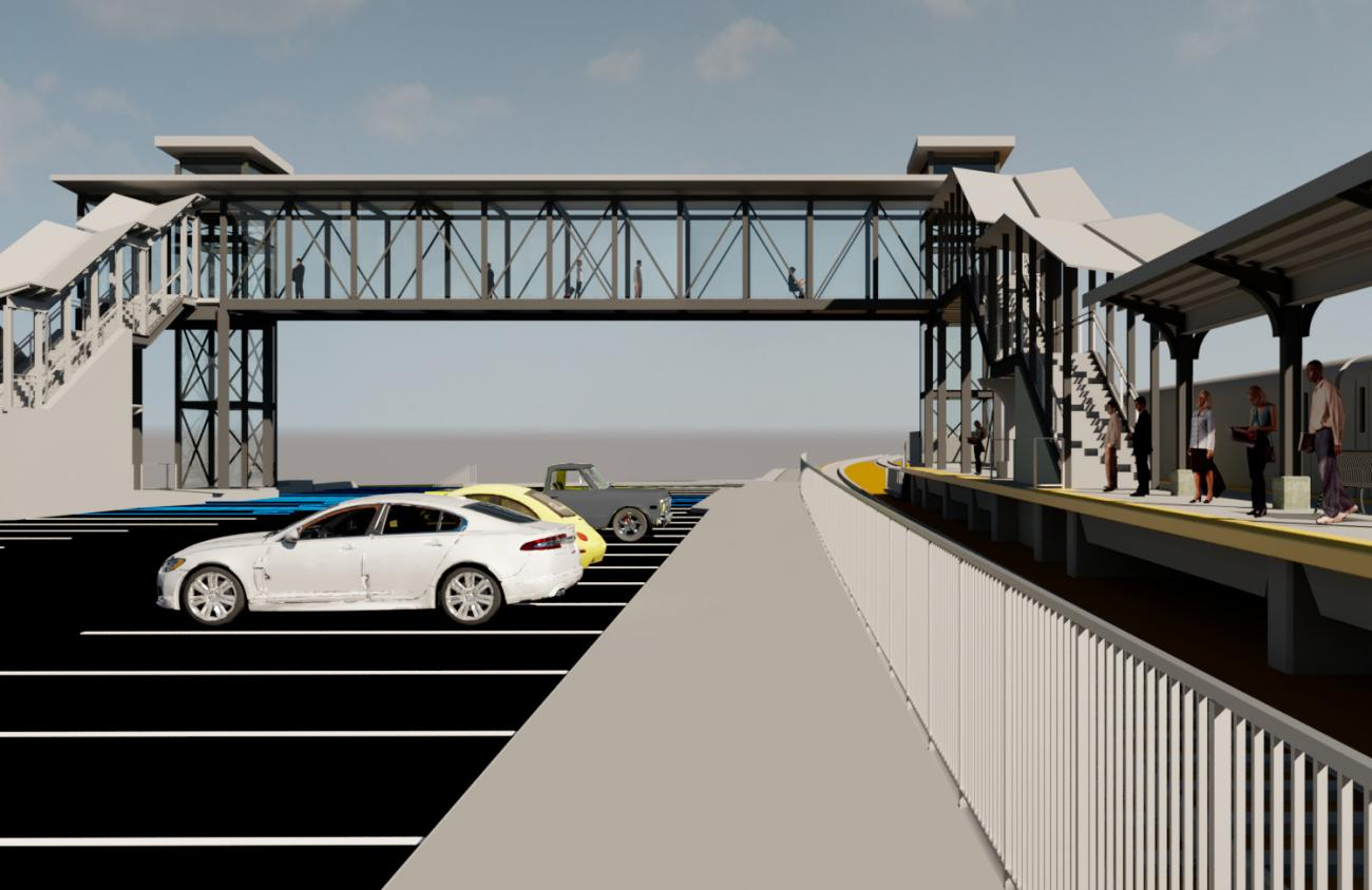 Rendering of what the pedestrian bridge at Worcester Union Station will look like when viewed from the the upper parking lot.