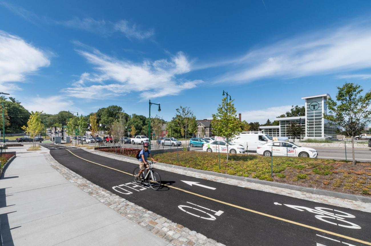 The new pedestrian and bicycle path across from the Forest Hills entrance