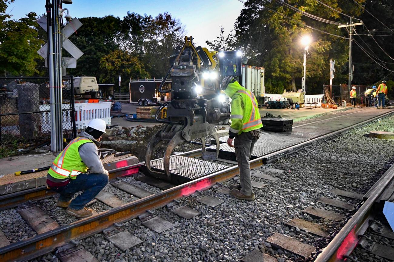 Crews work October 5 – 6, 2019, on intersections upgrades at Central Ave in Mattapan.