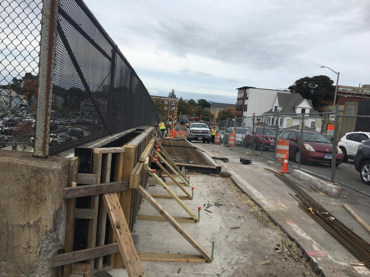 New sidewalk construction on Beale Street adjacent to Wollaston Station (October 2019)