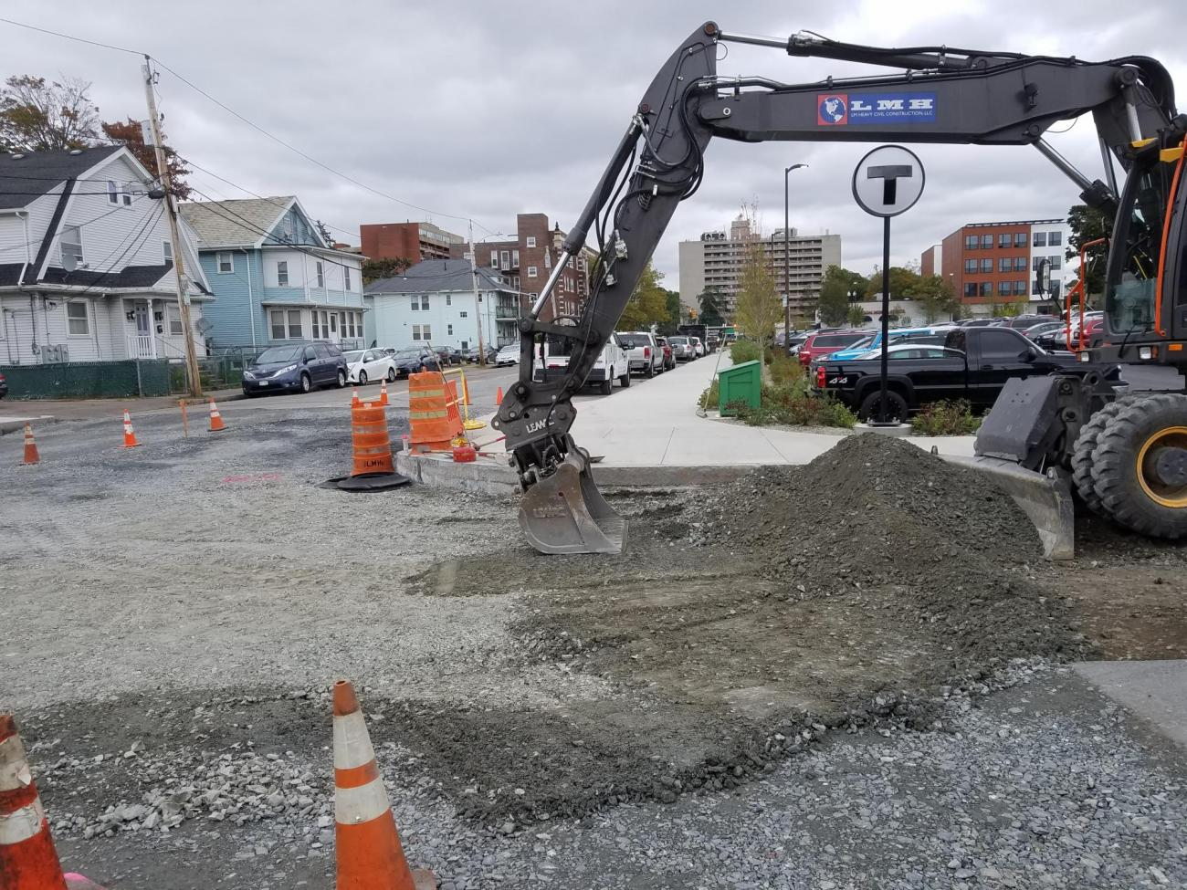 Road work at the corner of Greenwood Ave and Woodbine Street (October 2019)