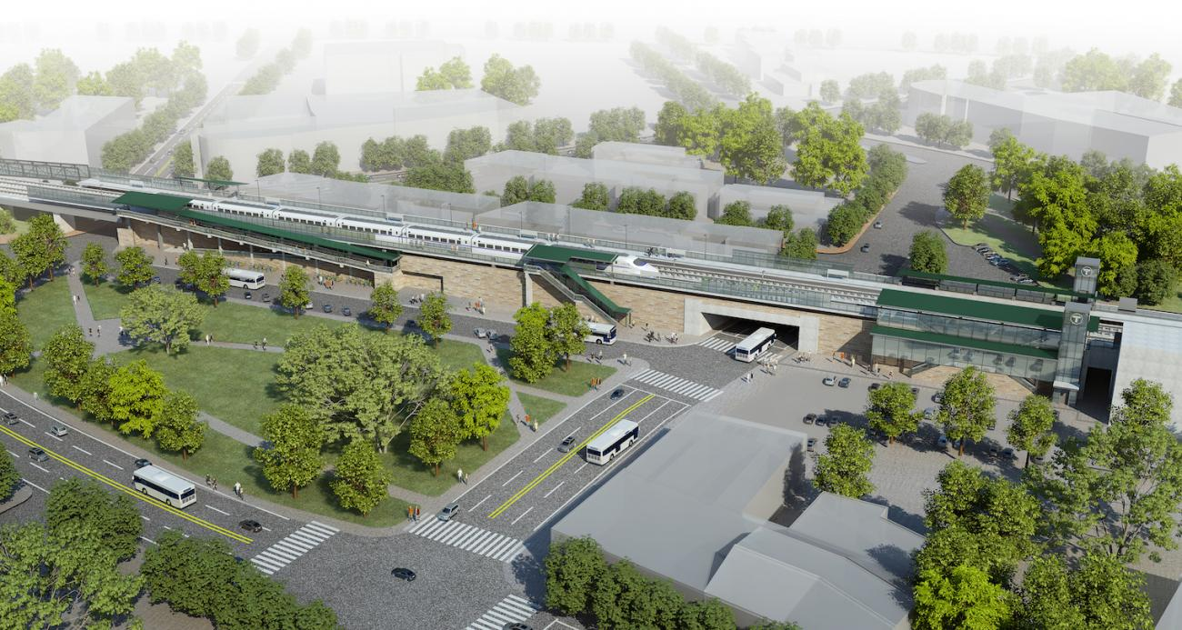 A rendering shows what Winchester Center Station will look like after accessibility improvements, as viewed from the inbound side