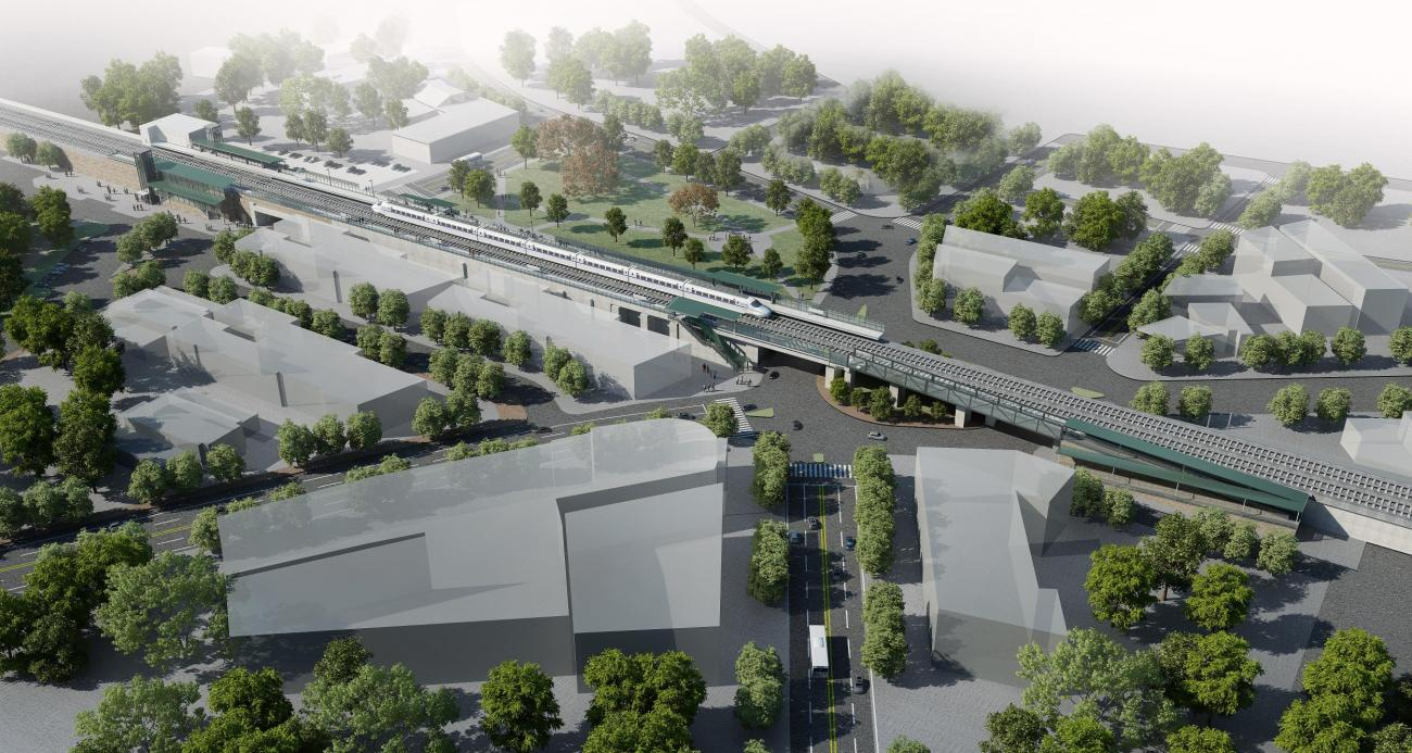 A rendering shows what Winchester Center Station will look like after accessibility improvements, as viewed from the outbound side